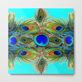 TURQUOISE  BLUE-GREEN PEACOCK EYE  FEATHERS Metal Print