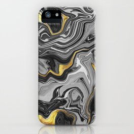 Abstract Melted Marble in Grey and Gold  iPhone Case