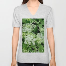 AWESOME DELICATE GREEN LACE FLOWERS Unisex V-Neck