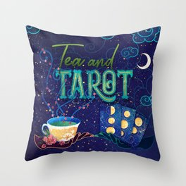 Kelly-Ann Maddox Collection :: Tea and Tarot (Illustrated) Throw Pillow