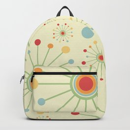 Mid Century Modern Retro 1970s Inspired SunBurst in Muted Colors Backpack