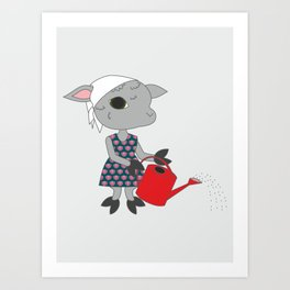 Cute sheep with watering can. Gardening animal character. Art Print