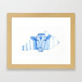 Blue Kentucky Cow Framed Art Print