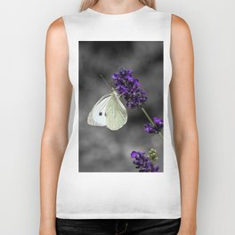 Cabbage butterfly on lavender, monochromatic bokeh background Biker Tank