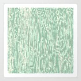 Jade Glow - abstract lines in cream & mint Art Print