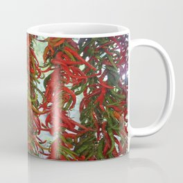 Strung and Hanging Red and Green Chili Peppers Drying Coffee Mug
