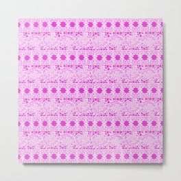 Lacey Lace - White Pink Metal Print