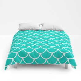 Aqua Blue Fish Scales Pattern Comforters