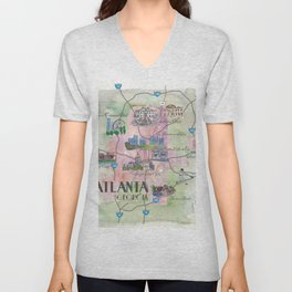 Atlanta Favorite Map with touristic Top Ten Highlights in Colorful Retro Style Unisex V-Neck