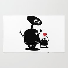Robot Heart to Heart Rug