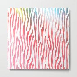 Abstract pink coral teal aqua watercolor zebra pattern Metal Print