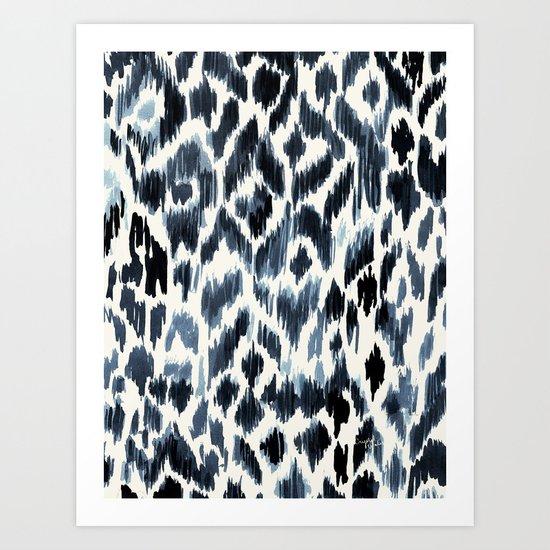 Indigo Ikat Leopard Art Print