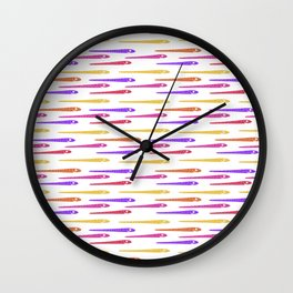 Cartoon Style Snakes Drawing Motif Pattern Wall Clock