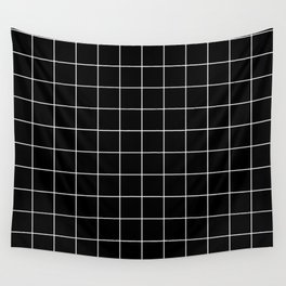 Grid Square Lines Black And White #12 Wall Tapestry