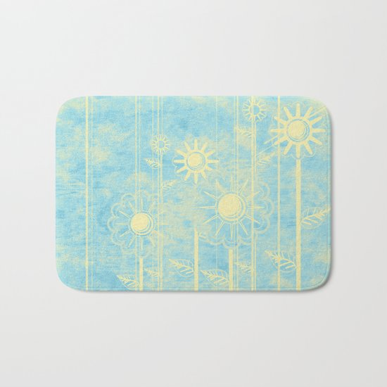 retro flowers in blue and yellow Bath Mat
