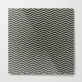 Gold And Navy Zig Zags Metal Print