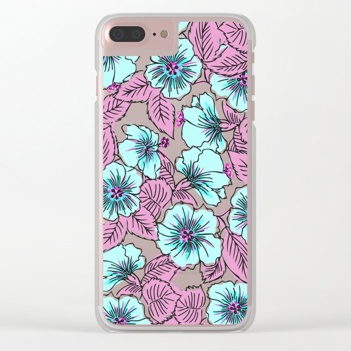 Sweet Blue Flowers Clear iPhone Case