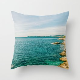 Seacoast of Cap d'Ail in a sunny winter day Throw Pillow