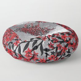 Red and black tree with textured silver background -Modern design Floor Pillow