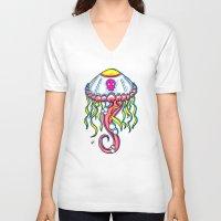 jelly fish V-neck T-shirts featuring Jelly Fish by KillianPB