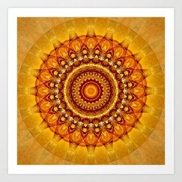 Mandala bright yellow Art Print