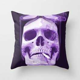 Skull Smoking Cigarette Purple Throw Pillow