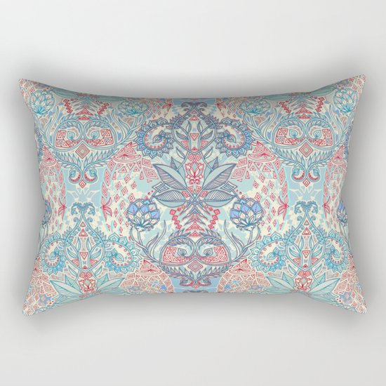 Botanical Geometry - nature pattern in red, blue & cream Rectangular Pillow