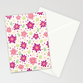Purple and pink flowers Stationery Cards
