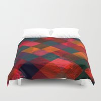 fabric Duvet Covers featuring Grid fabric by Tony Vazquez