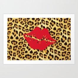 Lips and Leopard Print Art Print
