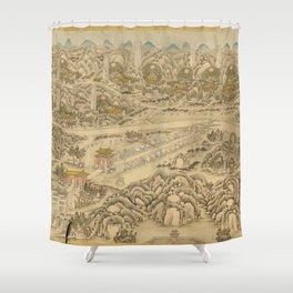Panoramic view of the Ming Tombs (c. 1736) Ming shi san ling tu Shower Curtain