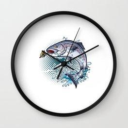 Fly Fishing Jumping Bait Fish Illustration Wall Clock