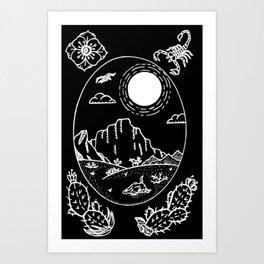 Desert Scene Illustration Invert Art Print
