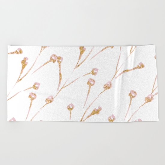 Delicate Blossom Pink + Gold Glitter Beach Towel