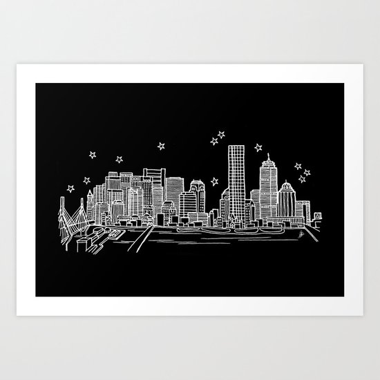 Boston, Massachusetts City Skyline Art Print