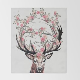 Deer and Flowers Throw Blanket