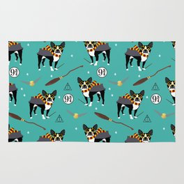 Boston Terrier witch wizard dog pattern gifts Rug