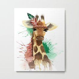 Funny watercolor giraffe with tribal patterned feather Metal Print