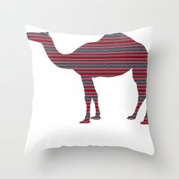 camel Throw Pillows featuring Camel by Ain Clothing