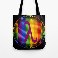 lesbian Tote Bags featuring Sappho Lesbian Symbol by SwanniePhotoArt