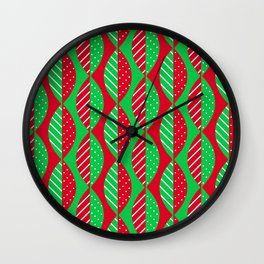 Christmas Mod Leaves in Red and Green Wall Clock
