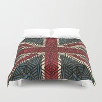 union jack Duvet Covers featuring Union Jack - Vintage Tribal by ArtLovePassion