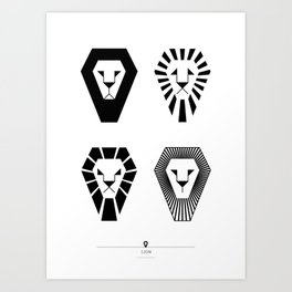 animal PICTOGRAMS vol. 3 - LIONS Art Print