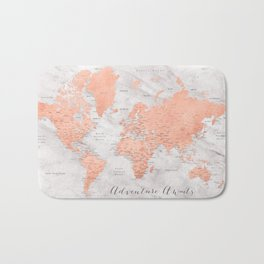 "Adventure awaits world map in rose gold and marble, ""Janine"" Bath Mat"