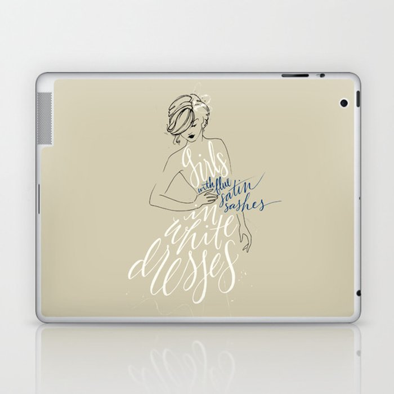 girls in white dresses with blue satin sashes Laptop & iPad Skin