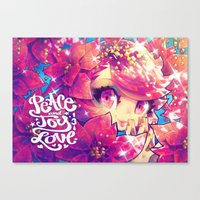 barachan Canvas Prints featuring peace joy love by barachan