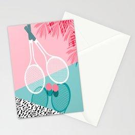 Sportin' - retro minimal pastel neon throwback memphis style pop art tennis sport court player Stationery Cards