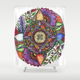 Watercolor Compass Shower Curtain
