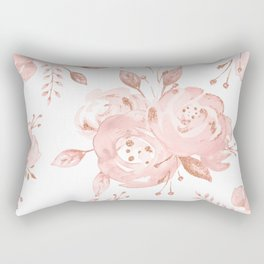 Roses Rose Gold Glitter Pink by Nature Magick Rectangular Pillow
