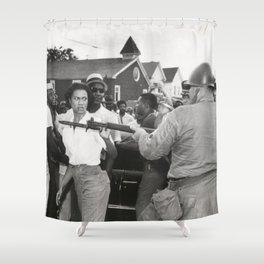 Gloria Richardson pushing a National Guardsman's bayonet, 1963 Shower Curtain